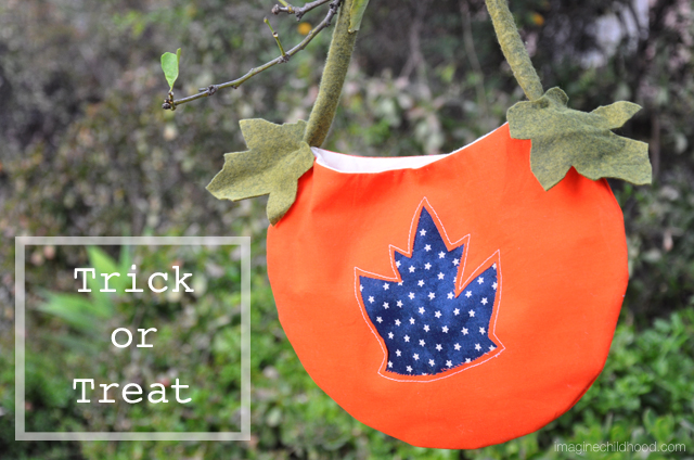 DIY Jack-O-Lantern Trick-or-Treat Bag via Imagine Childhood